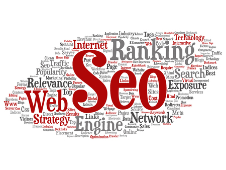 Vector conceptual search results engine optimization top rank, seo abstract online internet word cloud isolated on background. A marketing strategy web page content relevance network concept tagloud