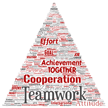 Vector conceptual teamwork management triangle arrow red partnership idea, success goal word cloud isolated background. Collage of business strategy, group cooperation solution or team concept design Imagens - 113658232