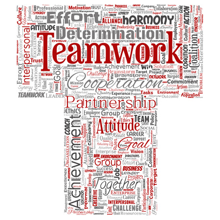 Vector conceptual teamwork management letter font red partnership idea, success goal word cloud isolated background. Collage of business strategy, group cooperation solution or team concept design