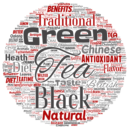 Vector conceptual green or black tea beverage culture round circle red natural flavor, taste variety word cloud isolated background. Collage of traditional medicine health diet benefit concept design