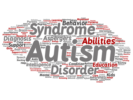 Vector concept conceptual childhood autism syndrome symptom or disorder abstract word cloud isolated background. A collage of communication, social behavior, autistic care, speech or difference text