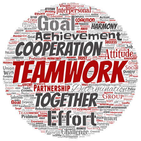 Vector conceptual teamwork management round circle red partnership idea, success goal word cloud isolated background. Collage of business strategy as group cooperation solution or team concept design