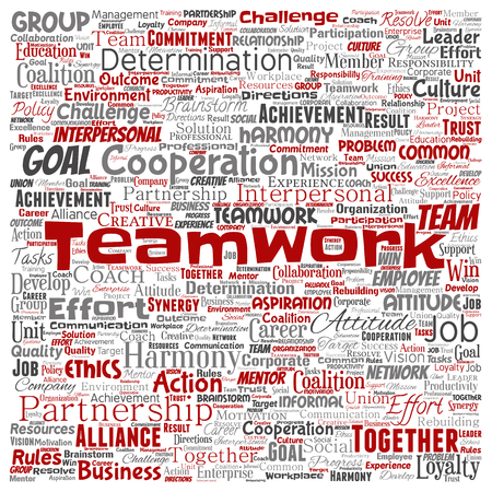 Vector conceptual teamwork management square red partnership idea or success goal word cloud isolated background. Collage of business strategy as group cooperation solution   or team concept design Illustration
