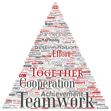 Vector conceptual teamwork management triangle arrow red partnership idea, success goal word cloud isolated background. Collage of business strategy, group cooperation solution or team concept design Banco de Imagens - 113975717