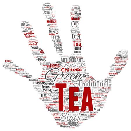 Vektorkonzeptionelle grüne oder schwarze Teegetränkkultur Handdruckstempel roter natürlicher Geschmack, Geschmacksvielfalt Wortwolke isolierter Hintergrund. Collage des Gesundheits- oder Diätnutzenkonzepts der traditionellen Medizin