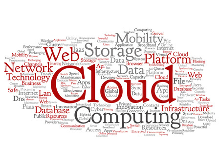 Vector concept conceptual web cloud computing technology abstract wordcloud isolated on background. Collage of communication, business, storage service, internet, virtual, online mobility hosting text 向量圖像