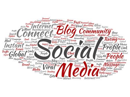 Vector conceptual redes de medios sociales o tecnología de marketing de comunicación nube de palabras abstractas aisladas sobre fondo. Una nube de etiquetas para el concepto mundial de la comunidad global o la metáfora publicitaria Ilustración de vector
