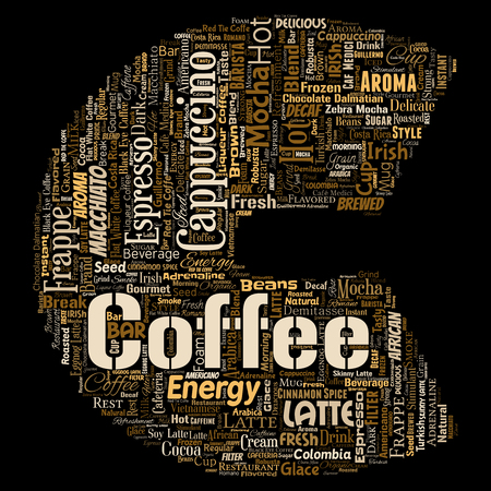 Conceptual creative hot morning italian coffee break cappuccino or espresso restaurant or cafeteria letter font C beverage word cloud isolated. A splash of energy or taste drink concept text