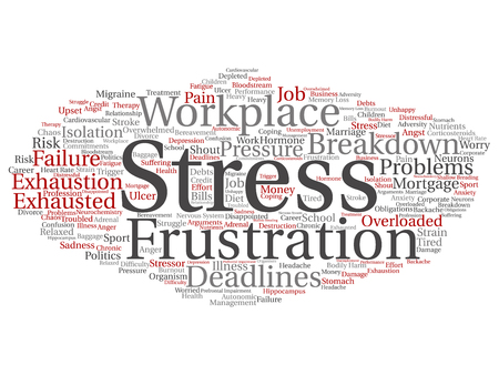 Vector concept conceptual mental stress at workplace or job pressure abstract word cloud isolated background. Collage of health, work, depression problem, exhaustion, breakdown, deadlines risk text