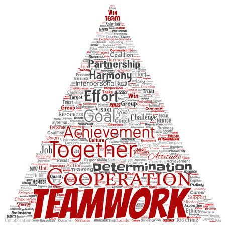 Vector conceptual teamwork management triangle arrow red partnership idea, success goal word cloud isolated background. Collage of business strategy, group cooperation solution or team concept design