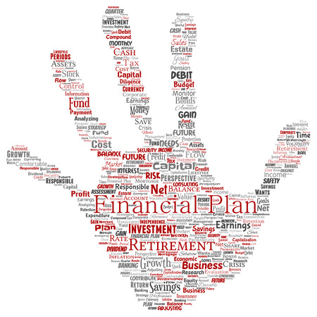 Vector conceptual business or personal financial plan hand print stamp red finance strategy word cloud isolated background. Collage of income money investment or future retirement security concept