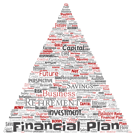 Vector conceptual business or personal financial plan triangle arrow red finance strategy word cloud isolated background. Collage of income money investment, future retirement security concept design