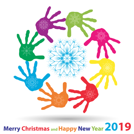 Vector artistic icy abstract crystal snow flakes over handprints isolated on background as winter or december decoration. Ice or frost beautiful star ornament on hand silhouettes or 2019 season art
