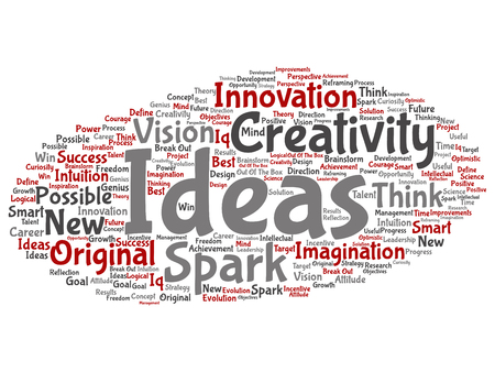 Vector concept or conceptual creative new idea brainstorming abstract word cloud isolated on background. Collage of spark creativity, original innovation vision, think, achievement, smart genius text