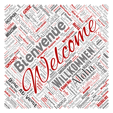 Conceptual abstract welcome or greeting international square red word cloud in different languages or multilingual. Collage of world, foreign, worldwide travel translate, vacation tourism