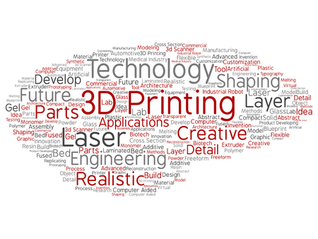 Vector concept or conceptual 3D printing creative laser technology abstract word cloud isolated background. Collage of engineering, realistic applications, future equipment, modeling or synthetic text Illustration