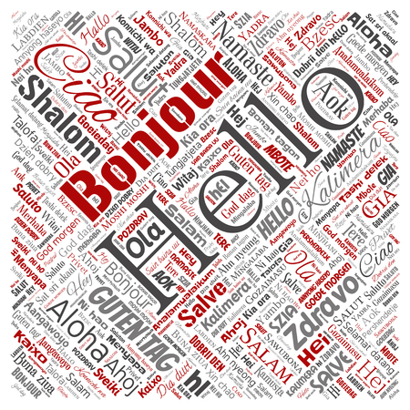Concept or conceptual square red hello or greeting international tourism word cloud in different languages or multilingual. Collage of world, foreign, worldwide travel translate, vacation Stockfoto
