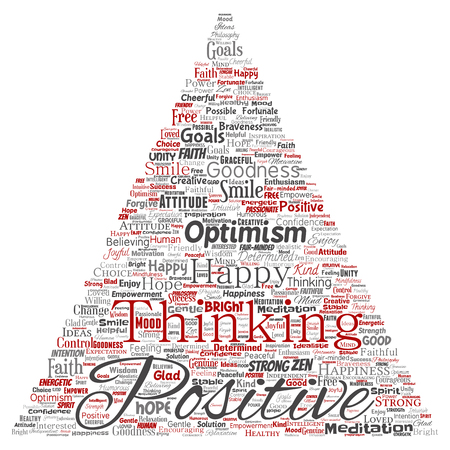 Conceptual positive thinking, happy strong attitude triangle arrow word cloud isolated on background. Collage of optimism smile, faith, courageous goals, goodness or happiness inspiration
