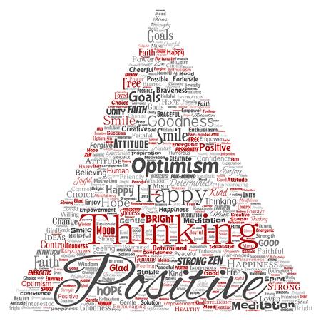 Pensée positive conceptuelle, bonne attitude forte triangle flèche mot nuage isolé sur fond. Collage de sourire d'optimisme, de foi, d'objectifs courageux, d'inspiration de bonté ou de bonheur Banque d'images