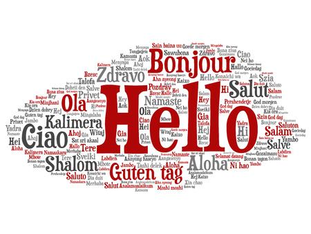Concepto de vector o hola abstracto conceptual o saludo nube de palabras de turismo internacional en diferentes idiomas o multilingües. Collage de mundo, extranjero, viajes por todo el mundo, traducir, texto de vacaciones Ilustración de vector
