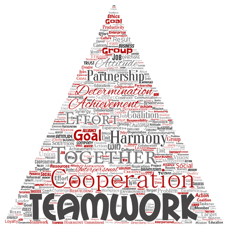 Vector conceptual teamwork management triangle arrow red partnership idea, success goal word cloud isolated background. Collage of business strategy, group cooperation solution or team concept design Banco de Imagens - 115273631