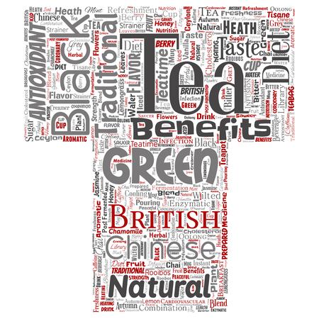 Vector conceptuele groene of zwarte thee drank cultuur brief lettertype rode natuurlijke smaak, smaak verscheidenheid word cloud geïsoleerde achtergrond. Collage van traditionele geneeskunde gezondheid of dieet voordeel concept Vector Illustratie