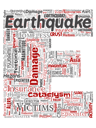 Conceptual earthquake activity letter font E red word cloud isolated background. Collage of natural seismic tectonic crust tremble, violent tsunami waves risk, tectonic plates shifting concept 版權商用圖片