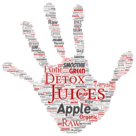 Vector conceptual fresh natural fruit or vegetable juices hand print stamp red healthy diet organic beverage word cloud isolated background. Collage of green exotic, tropical raw nutrition concept Vectores