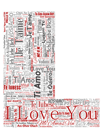 Conceptual sweet romantic I love you multilingual message letter font L red word cloud isolated background. Collage of valentine day, romance affection, happy emotion or passion lovely concept