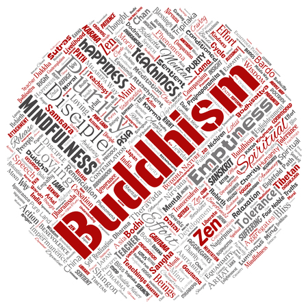 Conceptual buddhism, meditation, enlightenment, karma round circle red word cloud isolated background. Collage of mindfulness, reincarnation, nirvana, emptiness, bodhicitta, happiness concept Banco de Imagens