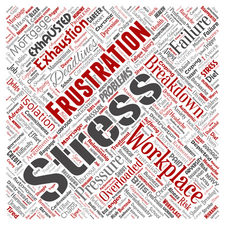 Conceptual mental stress at workplace or job pressure human square red word cloud isolated background. Collage of health, work, depression problem, exhaustion, breakdown, deadlines risk
