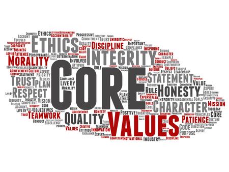 Vector conceptual valores fundamentales integridad ética concepto abstracto palabra nube fondo aislado. Collage de honestidad, calidad, confianza, declaración, carácter, perseverancia importante, respeto, texto digno de confianza.