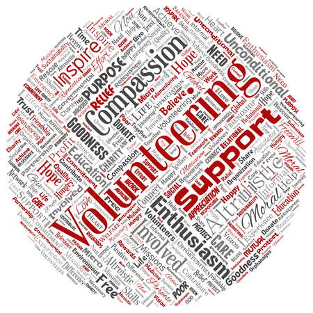 Vector conceptual volunteering, charity, humanitarian round circle red word cloud isolated background. Collage of selfless, support, philanthropy, nonprofit,  goodness, togetherness, giving concept