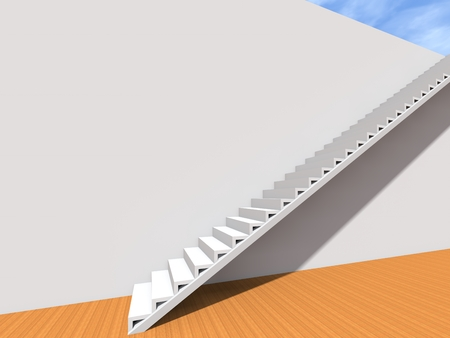 Conceptual stair on wall background building or architecture as metaphor to business success, growth, progress or achievement. 3D illustration of creative steps riseing up to the top as vision design Stock Photo