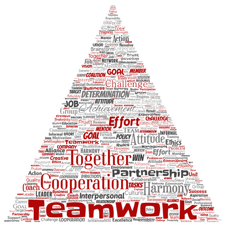 Vector conceptual teamwork management triangle arrow red partnership idea, success goal word cloud isolated background. Collage of business strategy, group cooperation solution or team concept design Imagens - 120335852
