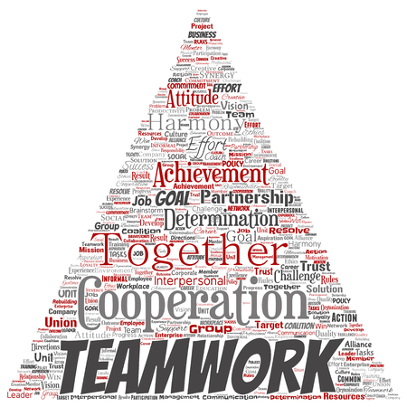 Vector conceptual teamwork management triangle arrow red partnership idea, success goal word cloud isolated background. Collage of business strategy, group cooperation solution or team concept design Imagens - 120420945