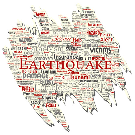 Vector conceptual earthquake activity old torn paper word cloud isolated background. Collage of natural seismic tectonic crust tremble, violent tsunami waves risk, tectonic plates shifting concept
