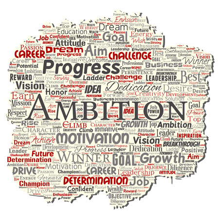 Vector conceptual leadership ambition or motivation old torn paper successful character word cloud isolated background. Collage of business growth challenge, positive dream inspiration goal concept Ilustrace