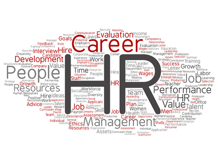 Vector concept conceptual hr or human resources career management abstract word cloud isolated on background. Collage of workplace, development, hiring success, competence goal, corporate or job text 일러스트