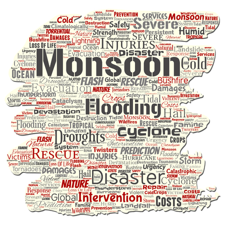 Vector conceptual monsoon dangerous weather old torn paper meteorology word cloud isolated background. Collage of tropical dramatic storm force, strong wind blowing, rain hail thunderstorm concept