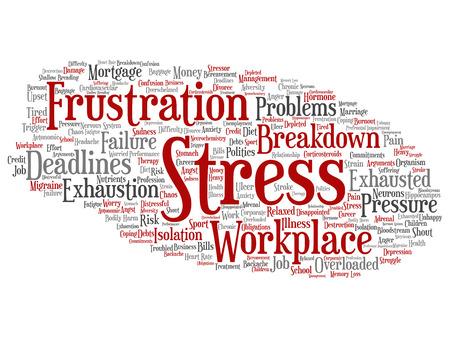 Estrés mental conceptual del concepto del vector en el lugar de trabajo o la presión del trabajo palabra abstracta nube aislada fondo. Collage de salud, trabajo, problema de depresión, agotamiento, avería, texto de riesgo de plazos