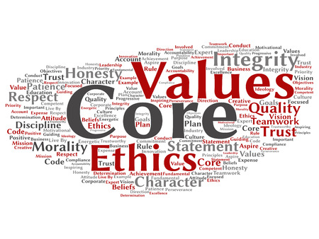 Vector conceptual core values integrity ethics abstract concept word cloud isolated background. Collage of honesty quality trust, statement, character, important perseverance, respect trustworthy text Stok Fotoğraf - 121320836