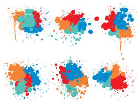 Collection vectorielle de gouttes de peinture grungy artistique, éclaboussures créatives faites à la main ou trait d'éclaboussures défini sur fond blanc isolé. Groupe de taches sales grunge abstraite, éducation ou décoration d'art graphique