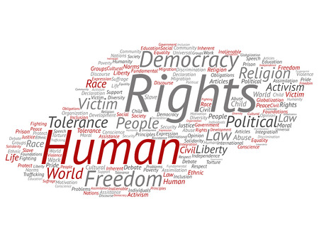 Vector concept or conceptual human rights political freedom, democracy abstract word cloud isolated background. Collage of humanity world tolerance, law principles, people justice discrimination text 일러스트