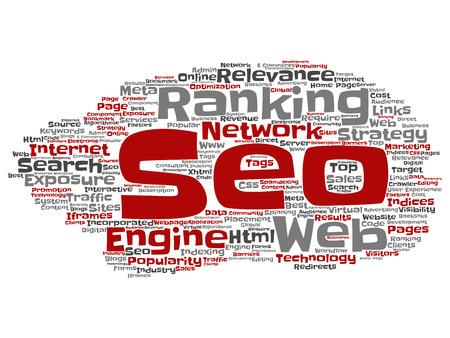 Resultados de búsqueda conceptual de vector optimización de motor rango superior, seo resumen nube de palabras de internet en línea aislada sobre fondo Una estrategia de marketing concepto de red de relevancia de contenido de página web tagloud Ilustración de vector