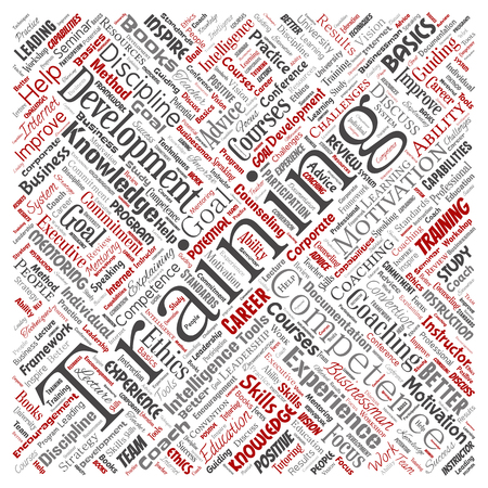 Vector conceptual training, coaching or learning, study square red word cloud isolated on background. Collage of mentoring, development, motivation skills, career, potential goals or competence
