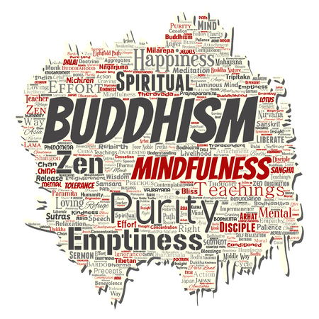 Vector conceptual buddhism, meditation, enlightenment, karma old torn paper word cloud isolated background. Collage of mindfulness, reincarnation, nirvana, emptiness, bodhicitta, happiness concept Illustration