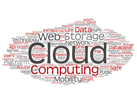 Vector concept conceptual web cloud computing technology abstract wordcloud isolated on background. Collage of communication, business, storage service, internet, virtual, online mobility hosting text