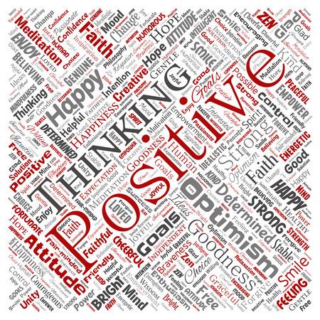 Pensamiento positivo conceptual del vector, nube de la palabra roja del cuadrado de la actitud fuerte feliz aislada en el fondo. Collage de optimismo sonrisa, fe, metas valientes, bondad o inspiración de felicidad Ilustración de vector