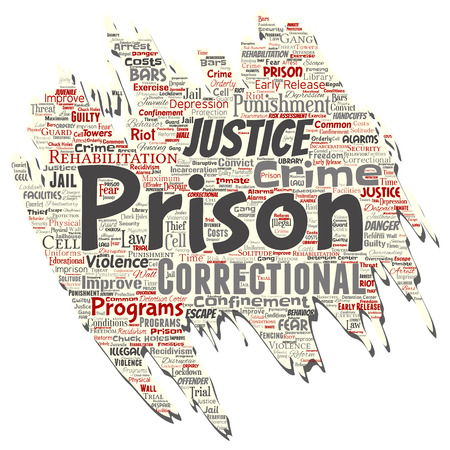 Vector conceptual prison, justice, crime old torn paper word cloud isolated background. Collage of punishment, law, rights, social, authority, system, civil, trial, rehabilitation, freedom concept